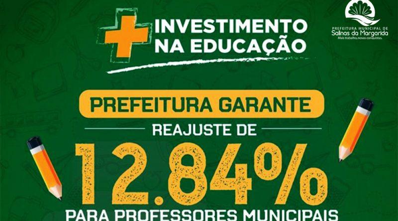 PREFEITURA DE SALINAS JÁ PAGOU O REAJUSTE DE 12,84% AOS PROFESSORES DA REDE PÚBLICA MUNICIPAL